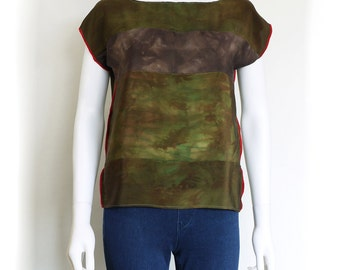 Silk top.  Color block top.  CAMOUFLAGE Hand dyed silk tee.