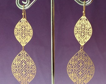 Moroccan Gold Lace Filigree Earrings, Bohemian style earrings, Lace Earrings, Spanish Style Boho Jewelry, Bridesmaid Gifts