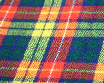 Vintage Tartan Plaid Camp Picnic Stadium Throw Blanket Acrylic Wool Blend Yellow Cobalt Royal Red Black