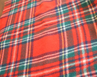 Vintage Tartan Plaid Camp Picnic Stadium Throw Blankets Wool Thick Heavy Red Black Off White Classic Plaid NOT PERFECT upcycle/repurpose