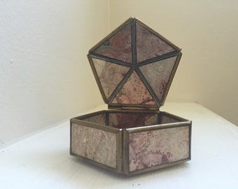 Vintage Brass Jasper Pentagon Hinged Belart Box Signed