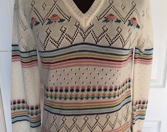 Vintage Frederick's of Hollywood Cream Colored Floral Striped Pullover Sweater