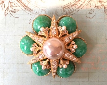 Beautiful Designer Signed 1950's Brooch by Marvella with Jade Green Glass and Rhinestones