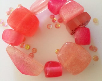 Candy Pink Resin Elastic Beaded Bracelet