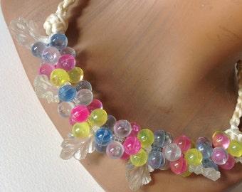 Vintage necklace 70.s plastic Sorbet colors