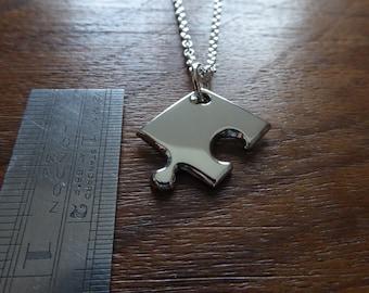 A Little Puzzle Piece Silver Pendant Necklace Charm