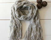 Knit scarf. Handmade Grey and golden sequins cowl. Chunky  and cozy. Gift for her.