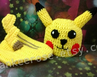 Pokemon Pikachu Inspired Baby Photo Prop Set Hat and  Diaper Cover* Newborn - 12 mos.