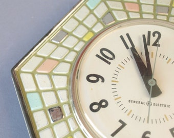 Vintage 50s 60s pastel mosaic GE retro wall clock mid century