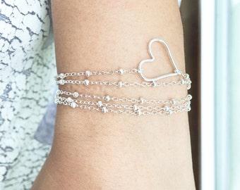 Heart Wrap Bracelet - Wrap Bracelet - Satellite Heart Bracelet - Wrap Bracelet - Delicate Heart Bracelet /Necklace - Heart Layered Bracelet