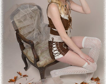 Leather suede steampunk  shorts  leather steampunk/ burlesque shorts