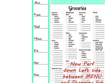 Modern Grocery List Magnetic Notepad and Menu Planner - 52 week menu planner