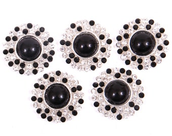 Metal Rhinestone Buttons - Pearl Drop Button - 20mm SET OF FIVE - BLack