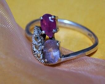 1930s RUBY AMETHYST STERLING Ring