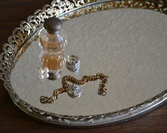 Lovely Oval Vanity Tray / Dresser Mirror / Perfume Display / Ornate Gold Toned Metal Frame / Old Hollywood Glam / Shabby Chic / Home Decor
