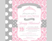 Princess Baby Shower Invitation Girls - Printable Pink Invites - Tutu Baby Shower - Whimsy Celebration - Vintage Party Printed Announcement