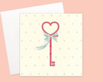 Happy Housewarming Heart Shape Key Greeting card or greeting card set