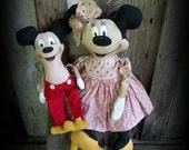 Primitive Folk Art Mouse Doll Set / Handmade Primitive Folk Art Dolls and Decor