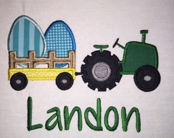 Youth Easter Tractor Applique  Short or Long Sleeve Shirt with Embroidered Personalized Name
