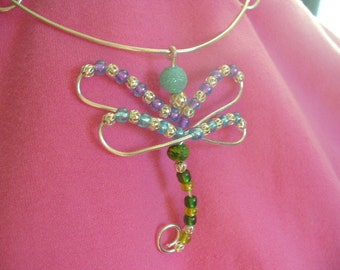Dragonfly Coiled Wire Pendant Necklace, silver with beads