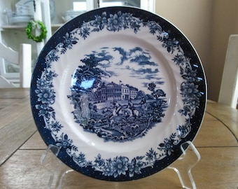 "Vintage H Aynsley & Co ""England's Heritage"" Blue and White Transferware Salad Plate"