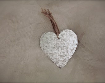 5 metal tin heart Ornaments  //  heart metal tags rustic // wedding favors decor, heart ornaments- 2.5 in. x 2.5 in. (5 pieces)