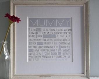 Personalised Mummy Print, Mummy Wall Art, Mummy Print, Mothers Day Mummy Gift, Gift for Mummy, Mothers Day Gift, Mummy Birthday Gift
