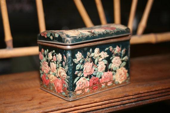 Large Vintage Russian Tea Tin, Wedding Decor, Kitchen, Blue Decor, Old Tin, Vintage Tin, Wedding, Floral Tin