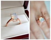 ONE TIME SALE Unique Natural Opal Engagement Ring, Rose Gold Vermeil Opal Solitaire, Bridal Jewelry Promise Ring Final sale
