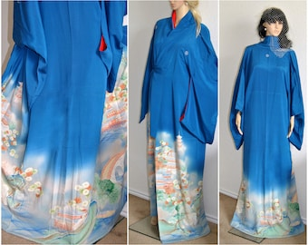Gion Geisha Japanese Kimono Silk Robe Authentic Yuzen WWII Antique Kimono Kyoto Temple Landmark Long Sleeve Blue Asian Kaftan Family Mon