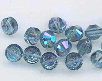 Wow - 16 vintage Swarovski crystal beads: Art. 5101 - 6 mm - indian sapphire AB