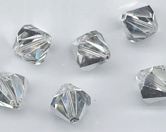 Eight rare vintage Swarovski crystal beads: Art. 5301 - 12 mm - crystal comet argent light
