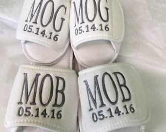 Bride & Groom slippers, 2 pair of Waffle Weave spa slippers, Mr. and Mrs. , Maid of Honor, Bridesmaids, Mother of Bride, Mother of Groom