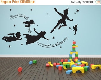 20% OFF Wall decal Peter pan, second star to the right, mural, stickers, wall art nursery play room vinyl sticker