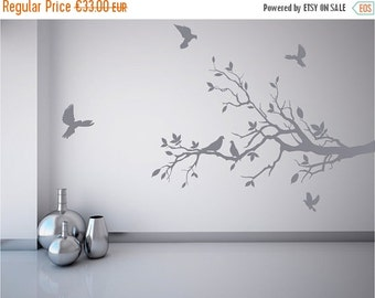 Summer sale Tree branch wall decal with pretty doves, mural stickers
