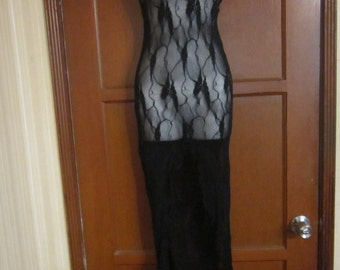 Long Sheer black Nightdress