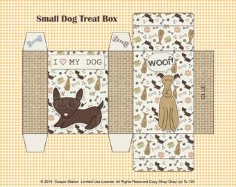 Digital Printable Small Dog Treat Box - Printable Treat Box - Dog Gift Box - Puppy Treat Box - Dog Soap Box