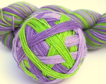 "Self Striping Sock Yarn, Superwash Merino, Nylon and Silver Stellina Fingering Weight, in ""Primula Auricula"""