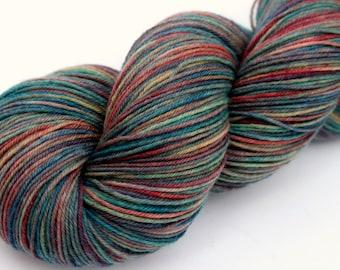 "Kettle Dyed Sock Yarn, Superwash Merino and Nylon 75/25 Fingering Weight, in ""Watercolors in the Rain"""