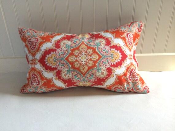 Red Orange Turquoise Yellow And White Medallion Pillow