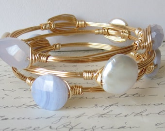 "Set of 3 Stone and Pearl Bangle Bracelets  ""Bourbon and Bowties"" Inspired"