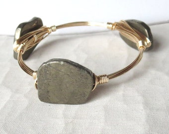 "Pyrite Slab Bangle Bracelet ""Bourbon and Bowties"" Inspired"