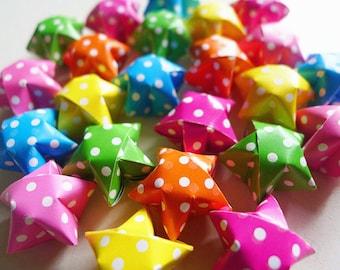Big Size Colorful Polka Dots Origami Stars - Dots Wishing Stars Gift Enclosure/Table decor/Party Supply