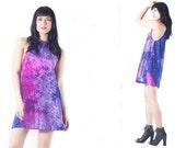 Velvet A line Shift Mini Hippie Boho hippie tie dye psychedelic dress mod 60s festival dress