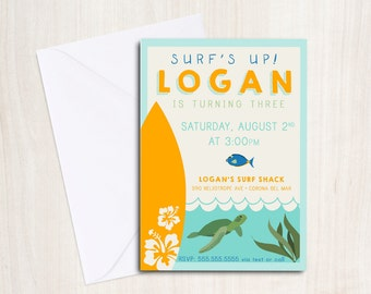 Luau Surf Party Birthday Invite in orange - Sea Turtle Party Invitation - Hawaiian Beach Party  - Party Supplies