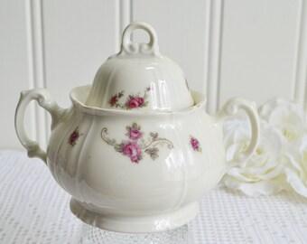 Lidded sugar bowl, vintage porcelain dish , candy bowl, off white chinaware, art deco