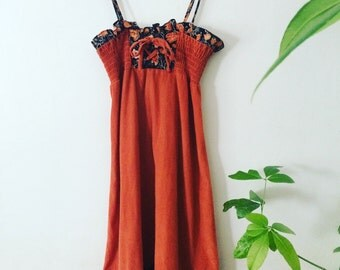 70s Rusty Orange Corset Shoulder Tie Calico Floral Sun Dress Hippie Boho Cutie Pie