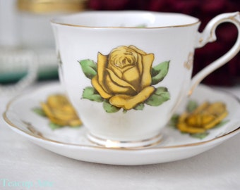ON SALE Royal Albert Yellow Picardy Rose Teacup and Saucer, English Bone china, Garden Party, ca. 1940