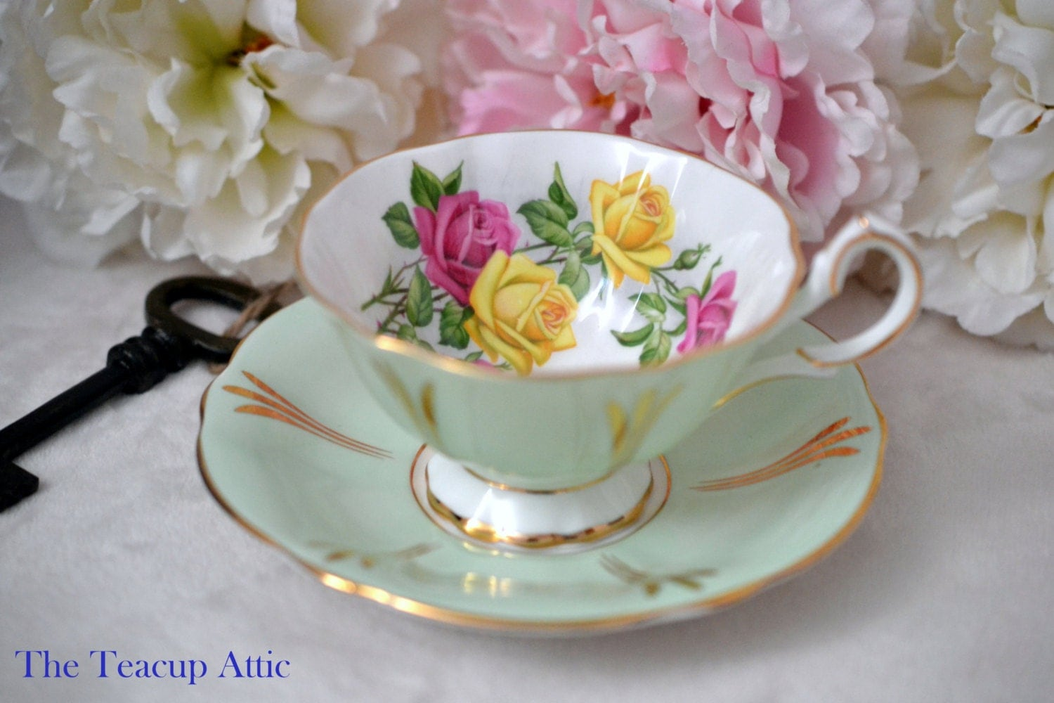 Queen Anne Pale Green Floral Teacup and Saucer Set, English Bone China Teacup And Saucer, ca.1950-