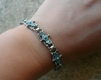 Victorian Style Vintage Bracelet - Silver Enamel Link Bracelet - Blue Flower Bracelet - Antique Style Bracelet
